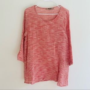 Flax Red/ Pink Round Neck Heathered Tunic/ Top